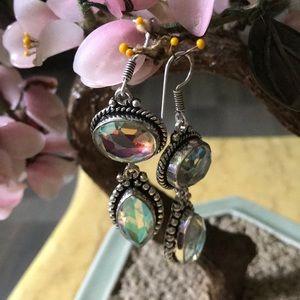 Vintage 925 mystic topaz earring